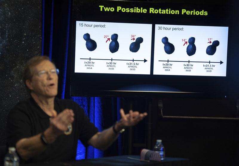 对于「天涯海角」的奇特形状,科学家推测有两个可能。其中一个可能是,单一天体,两边相连。另一个可能是,小行星为两个天体,近距离互相围绕运行。AP