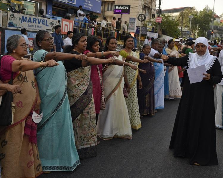 印度數百萬女性上街,爭取性別平等。AP