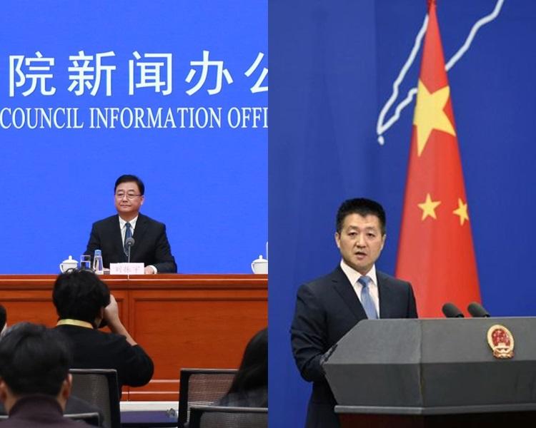 司法部副部長劉振宇(左)、外交部發言人陸慷(右)。網圖