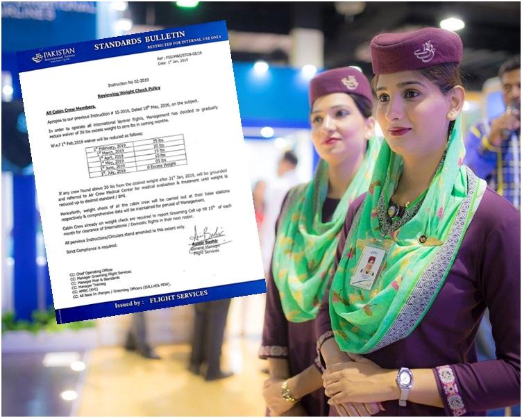 巴基斯坦航空公司对空中服务员的体重发出备忘录。网图