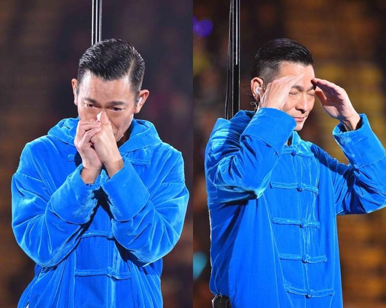 對於個唱腰斬,華仔在台上掩面落淚。