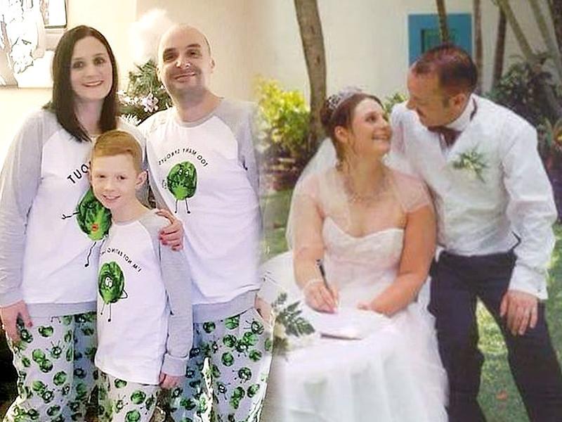 Natalie与现任丈夫一家三口(左);Natalie与已离世的丈夫Tim。网图