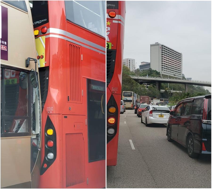 葵涌道有巴士相撞。葵青講場圖片