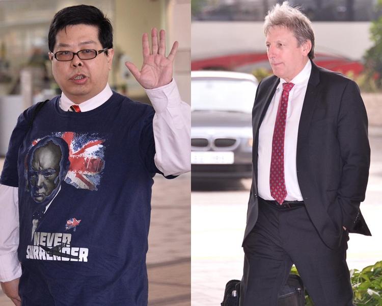 辯方繼續傳召專家證人Dr. Jason Payne-James (右)作供;林子健(左)今早到庭。