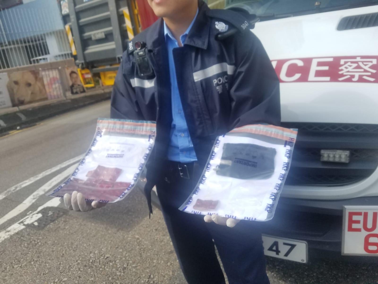警方展示檢獲的毒品。 林思明攝