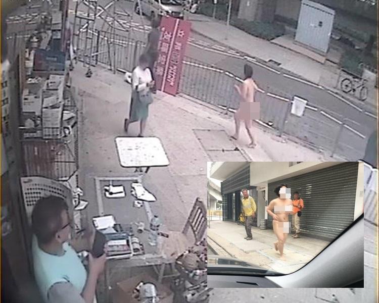 大圍積存街驚現裸跑中年婦女。Christian Cheung及Ka Wing圖片