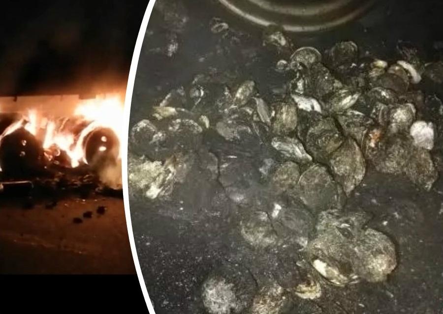 广西货车起火23吨生蚝变「烧蚝」。网上图片