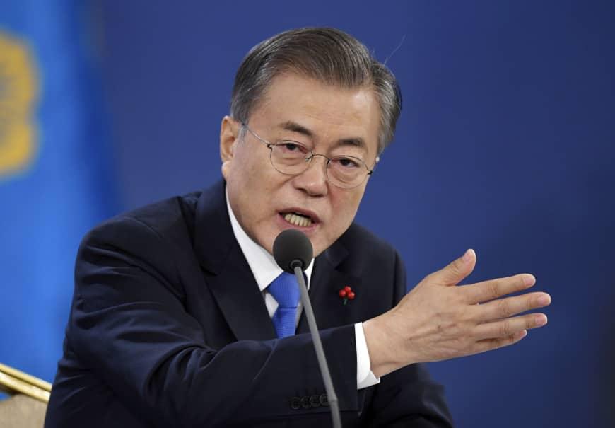 文在寅向北韓領袖金正恩發親筆信。AP圖片