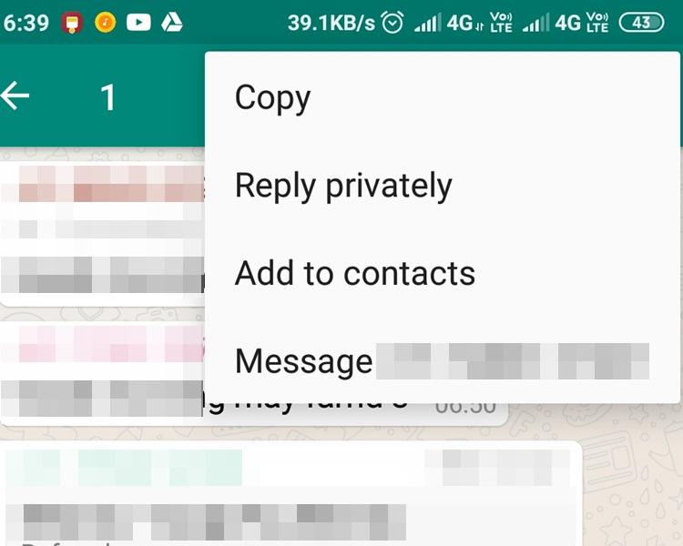 WhatsApp推新功能,群組內可「私回」朋友。網上圖片