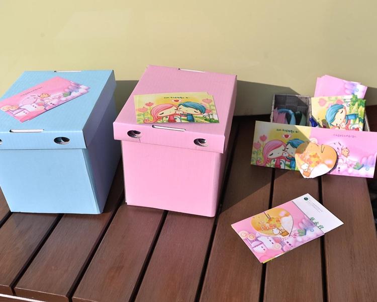 安置骨灰的紙箱,設粉藍和粉紅色選擇。