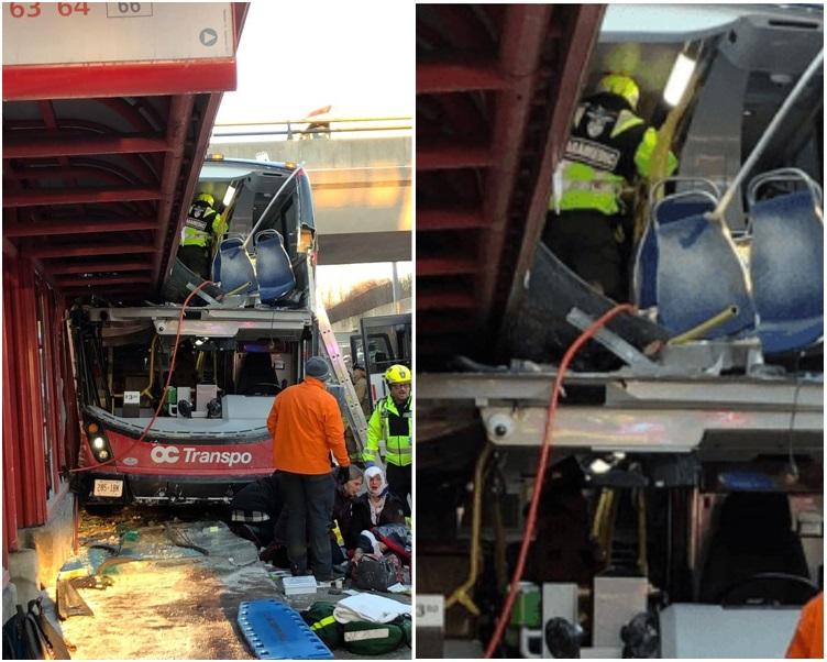 部分上蓋陷入巴士上層。圖:twitter