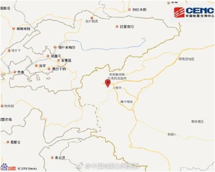 新疆喀什地區5.1級地震。