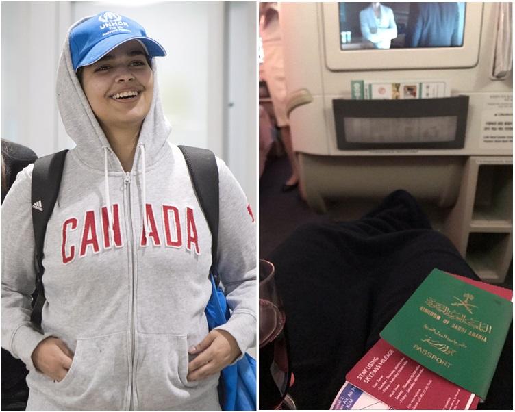 奎農下機時穿著一件印有「CANADA」的連帽外套。AP