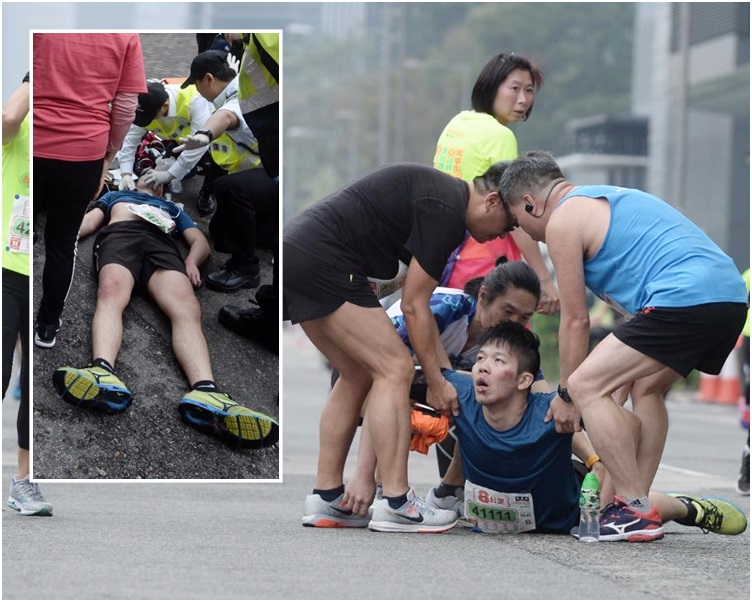 參加8公里賽事的28歲男跑手暈倒前曾吐血。