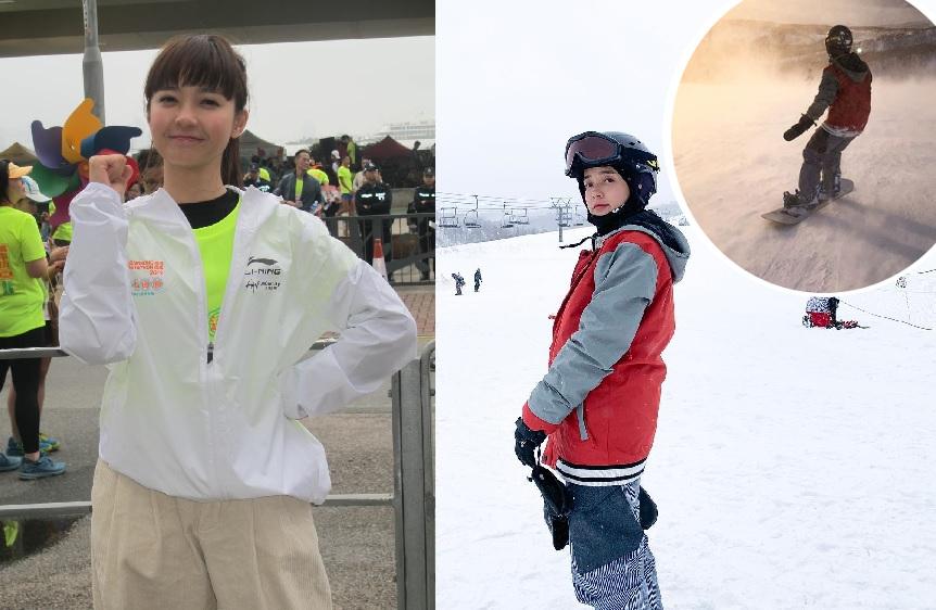 糖妹稱首次玩滑雪,但經已玩上癮。