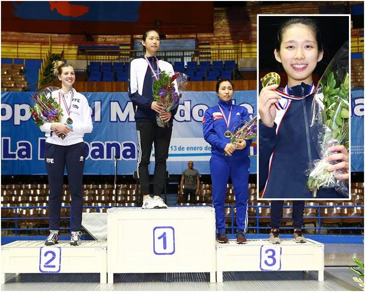 江旻憓(中和小圖)在世界盃古巴站女子重劍項目歷史性奪金。FIE fb相片