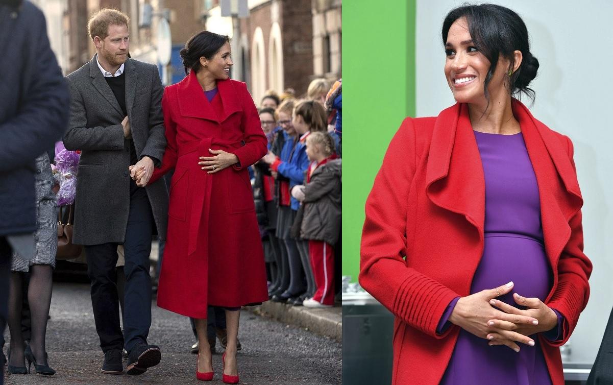 英国哈里王子与腹大便便的夫人梅根周一出席公开活动。美联社