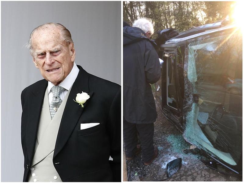 从现场照片可见,菲腊亲王的黑色座驾左侧严重损毁。