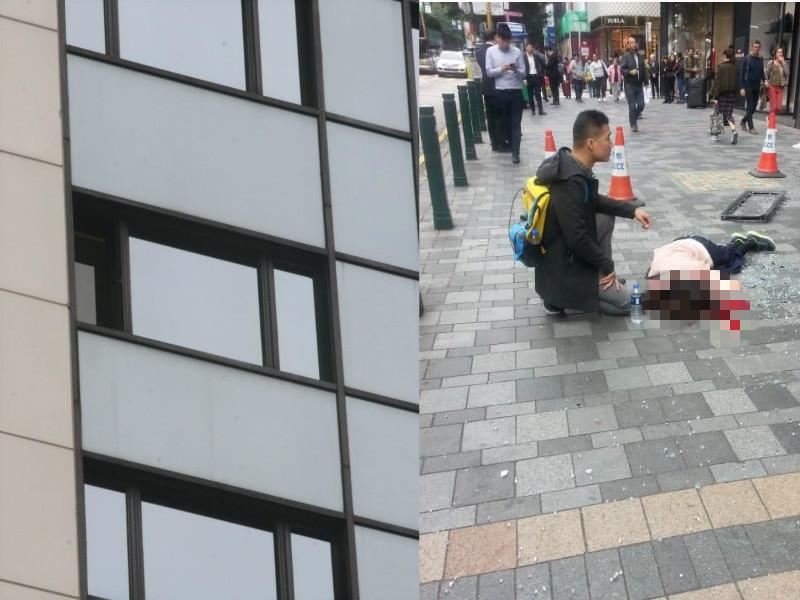 尖沙嘴美丽华酒店堕窗击毙女游客。本报记者/读者提供