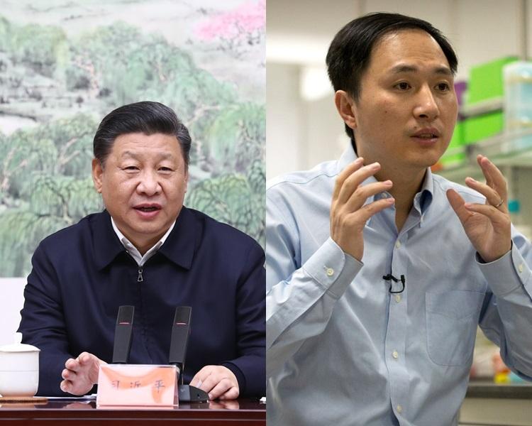 国家主席习近平、内地学者贺建奎。新华社/AP