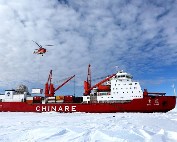 中国南极考察船「雪龙」号。新华社