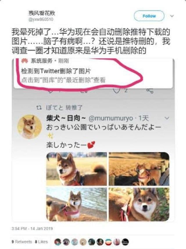 内地用户用华为上Twitter自动删相。