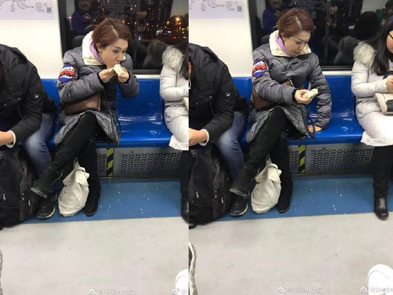 「上海凤爪女」转战北京地铁,吃沙琪玛撒一地,有网民称:「这是要全国巡演吗?」