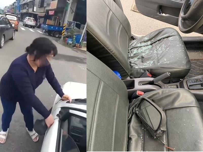 白色汽車突遭無妄之災,遭迎面女子徒手拔倒後鏡、砸車窗。(網圖)