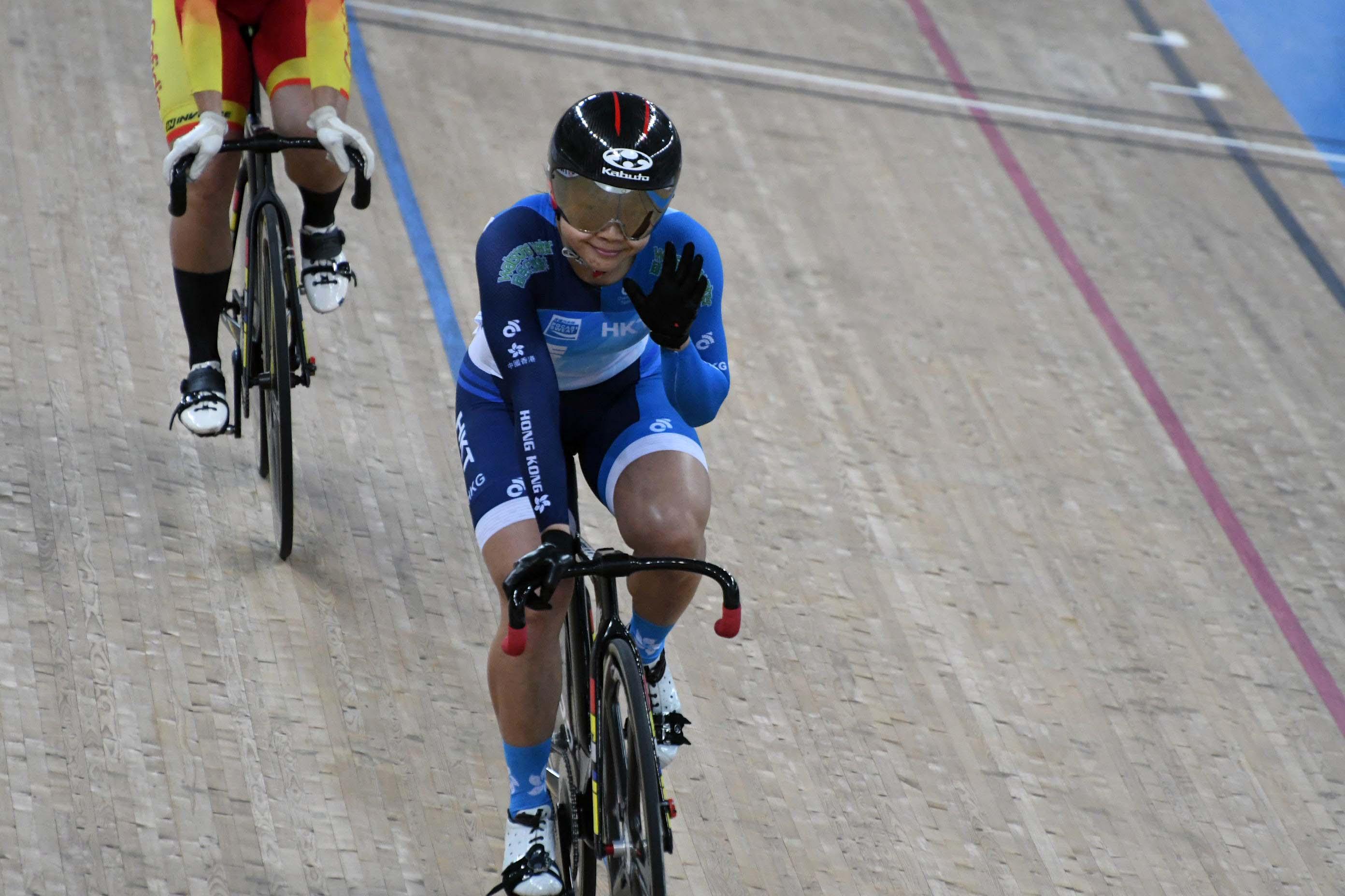 李慧詩於場地單車世界盃香港站奪得女子凱林賽金牌。郭晉朗攝