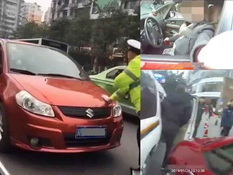 賴姓駕駛者辱罵交警並拒絕合作,再開車將交警推行15米,最後被警車截停。(網圖)
