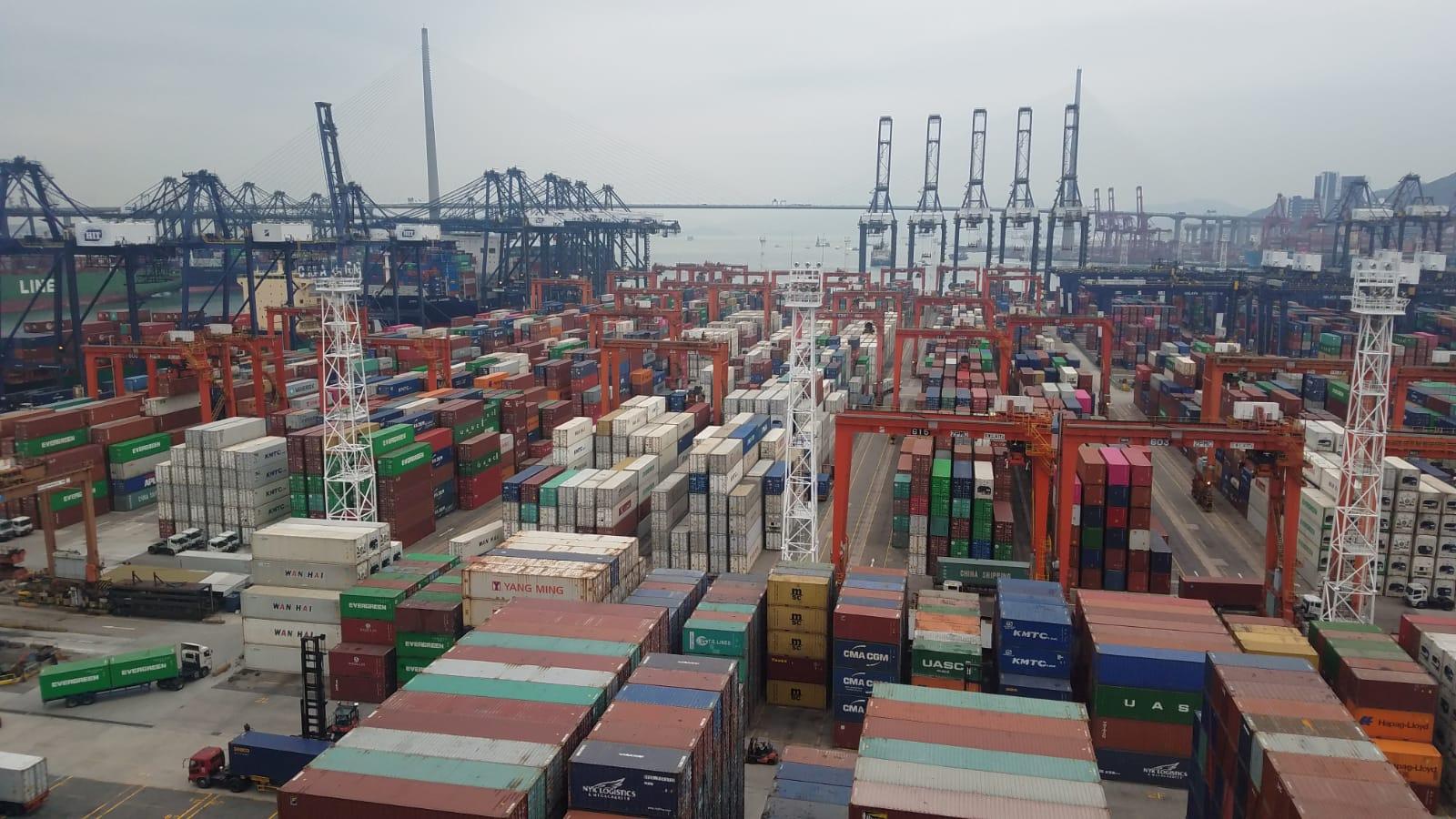 海關在葵涌海關大樓驗貨場扣留案中的貨櫃。