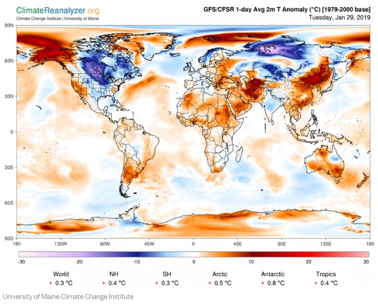 全球氣溫圖看見偏暖區域比偏冷區域範圍更大。網上圖片