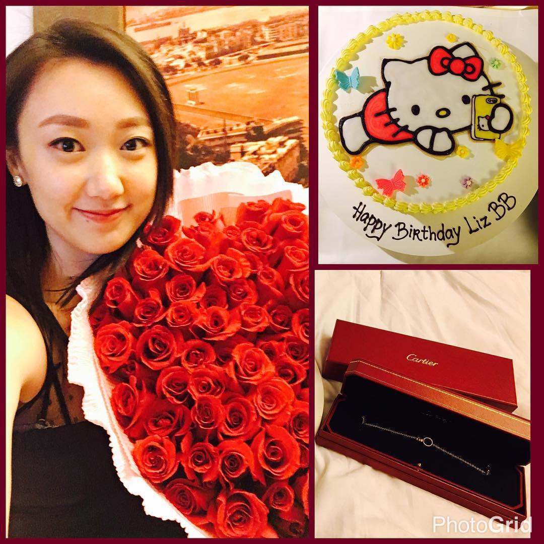 金盈生日,男友J先生送上玫瑰、蛋糕及名牌飾物。金盈IG