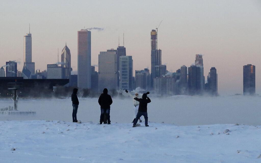 芝加哥经历极端寒冷之后急速回暖。图片