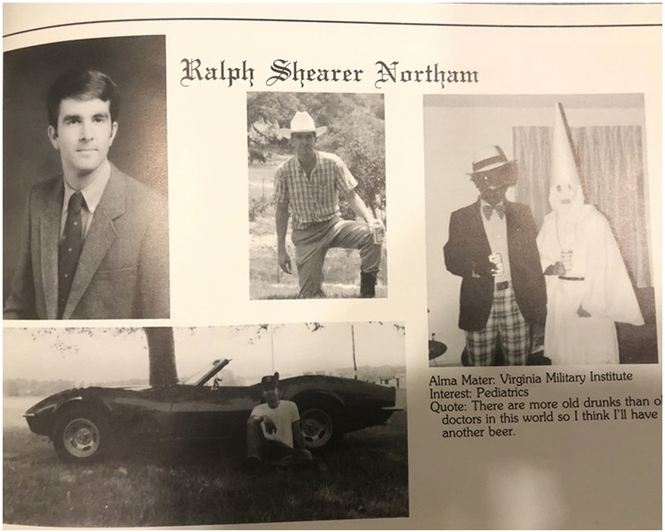 争议性照片刊登在1984年维珍尼亚州大学医学院年刊中。