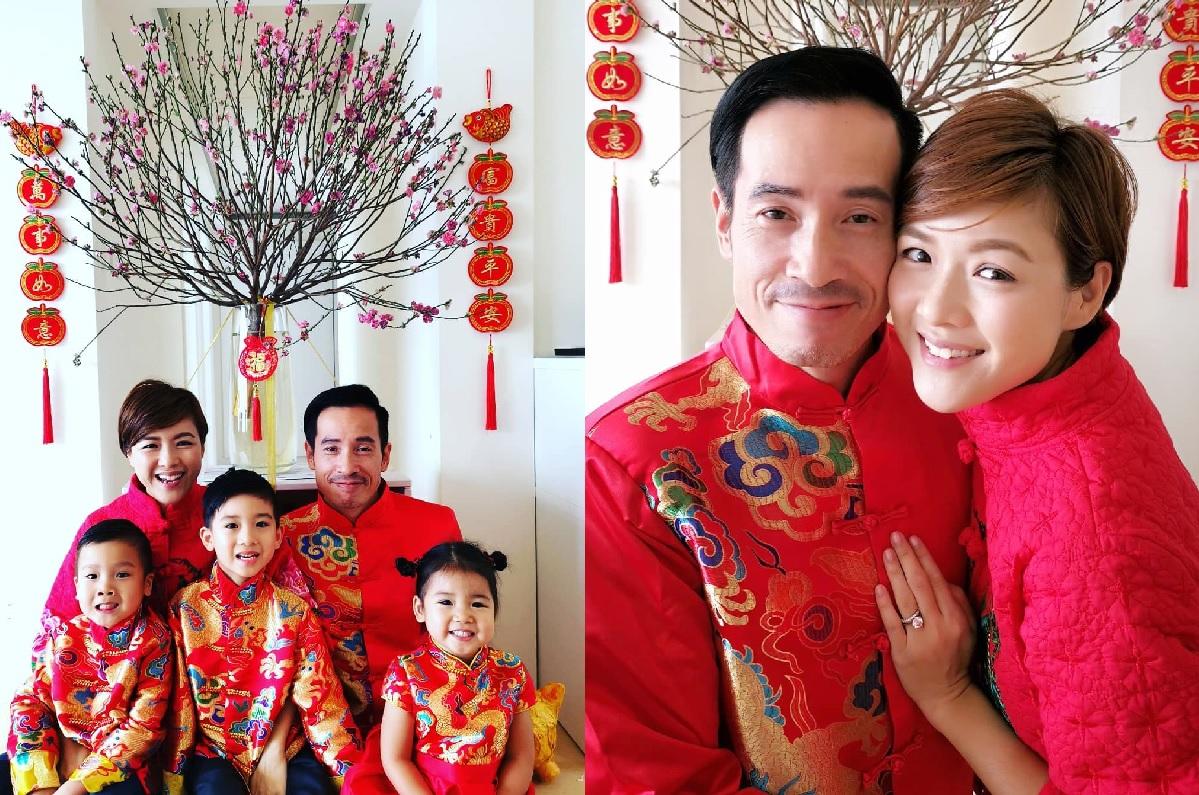 陳豪和Aimee一家五口都穿上傳統服飾,跟大家拜年。陳茵媺ig