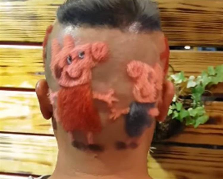郑男以Peppa Pig为新年髮型。网图