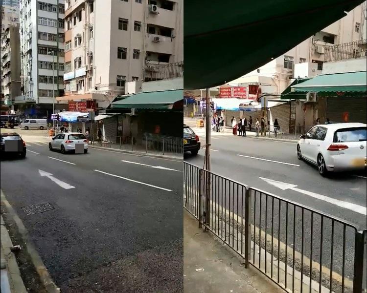 白色私家車停了半分鐘才知道自己正逆線。Nathan Tsoi @ 馬路的事討論區 facebook