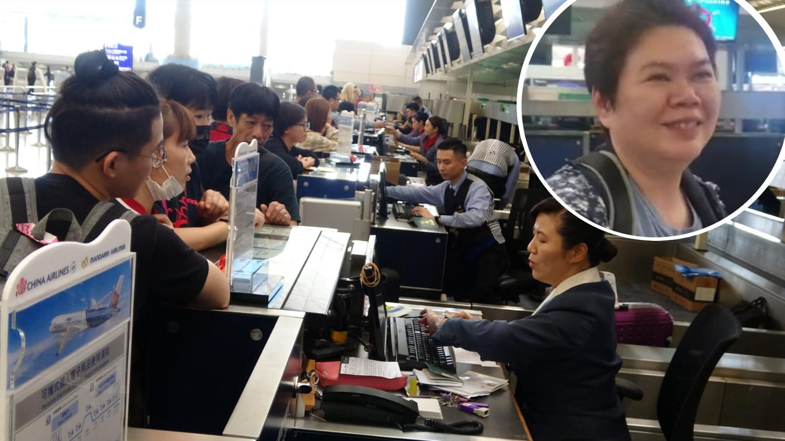 不少旅客提早到機場的華航櫃位,查詢航班情況。小圖為吳小姐。林思明攝