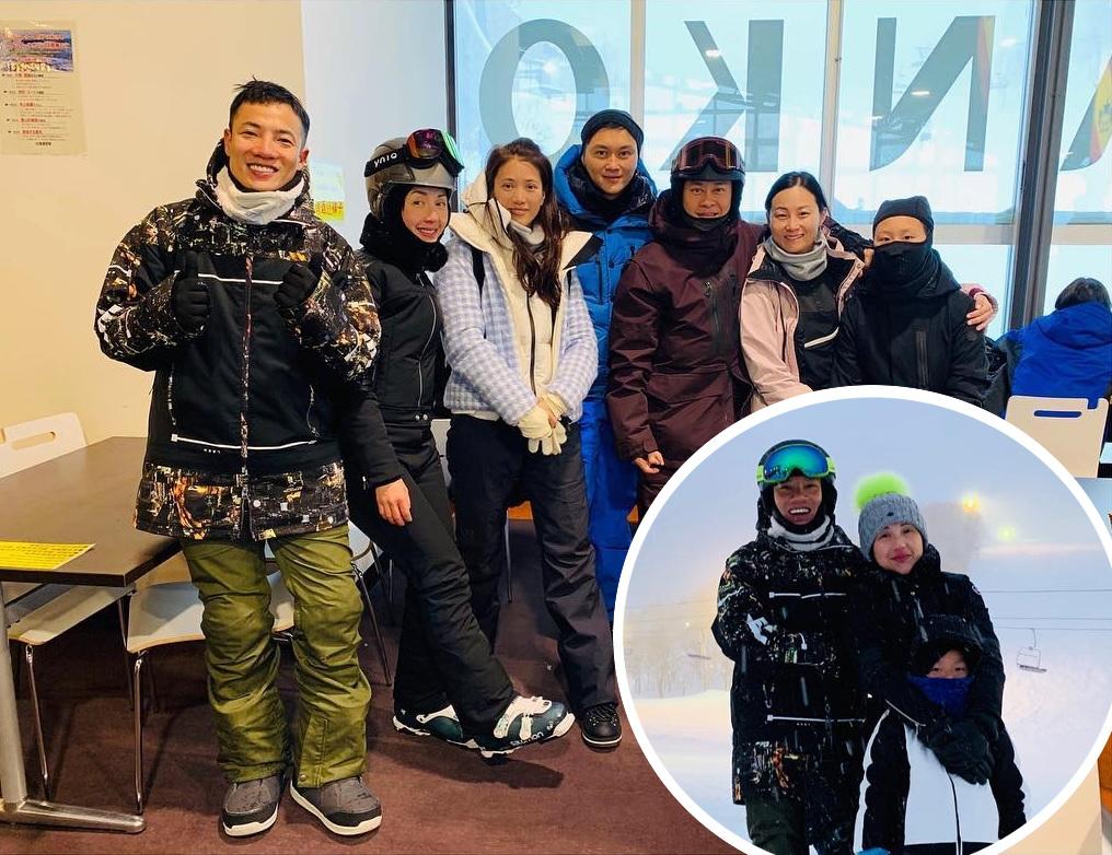 千嬅近日和老公丁子高、囝囝Torres到日本北海道滑雪,遇到張智霖兩公婆和蔡一智一家。丁子高IG