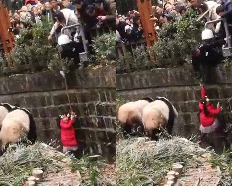 保安倒吊将女童拉出。影片截图