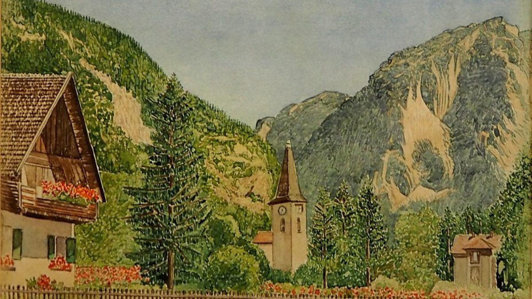 据称是出自希特拉之手的5幅画作,今天在纽伦堡拍卖。网上图片