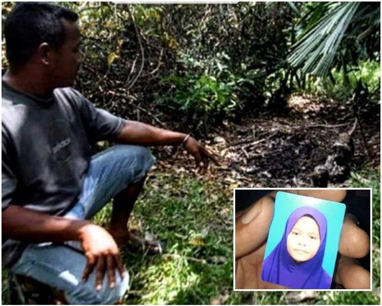 村民指著發現失蹤金童屍體的地點。網圖