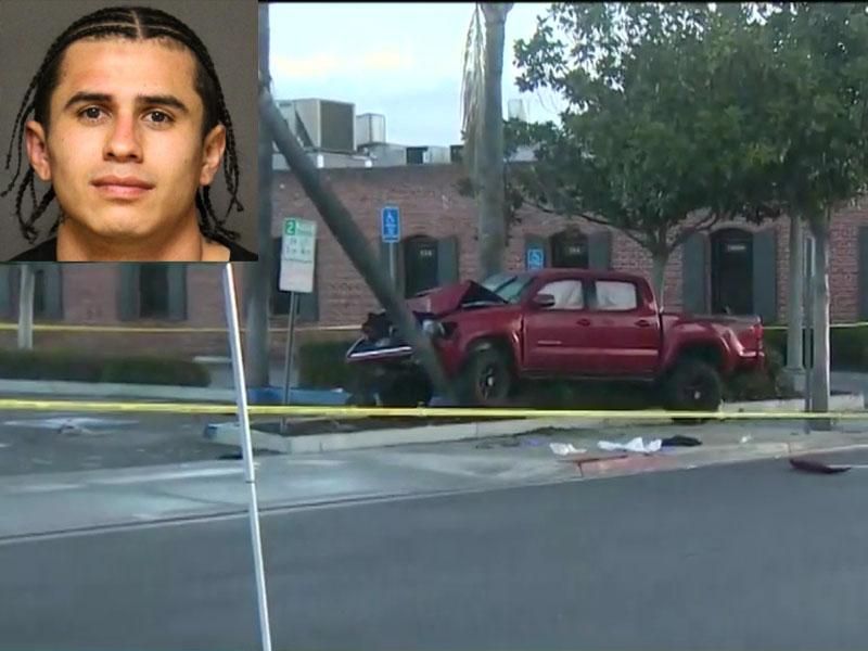 汽车刬上行人路,撞倒至少九名途人,22岁司机怀疑药后驾驶被捕。(网图)