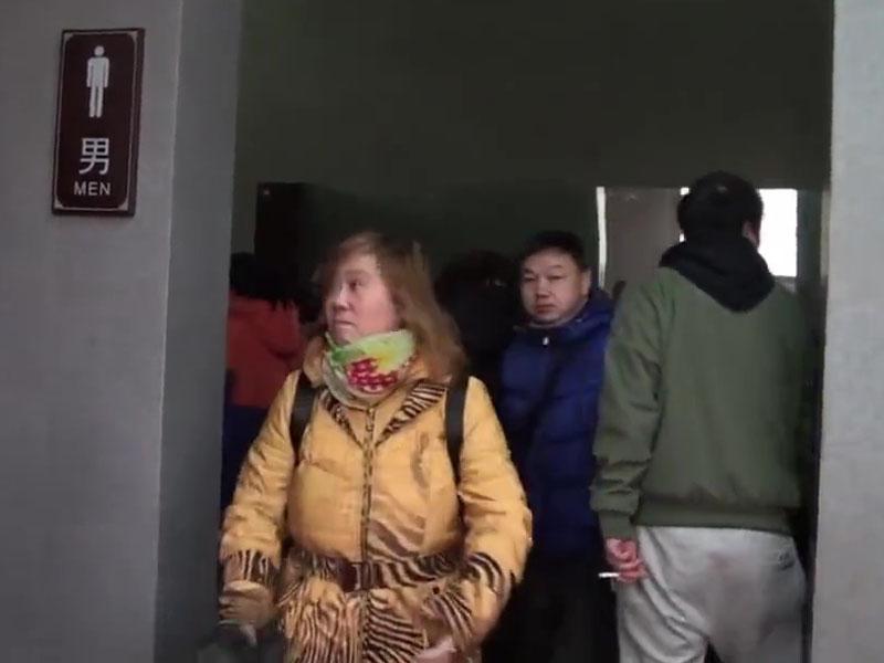 女遊客佔領景區男廁所。(網圖)