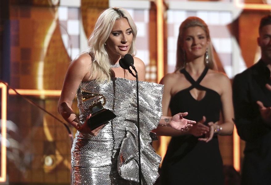 Gaga在格林美獲3獎。AP