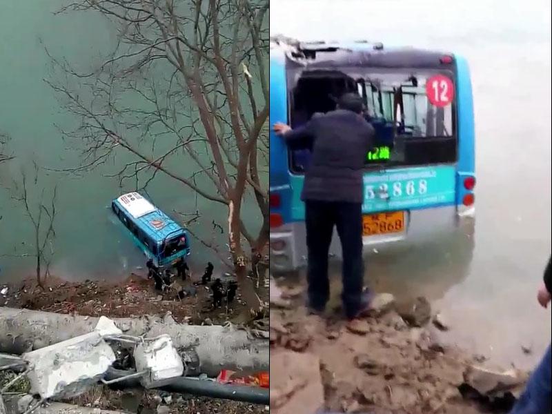 陝西寧強一輛巴士墜江造成2人死亡。(網圖)