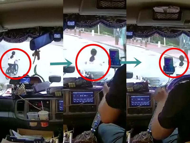 女車手突轉線。網民Sky Huang圖片。