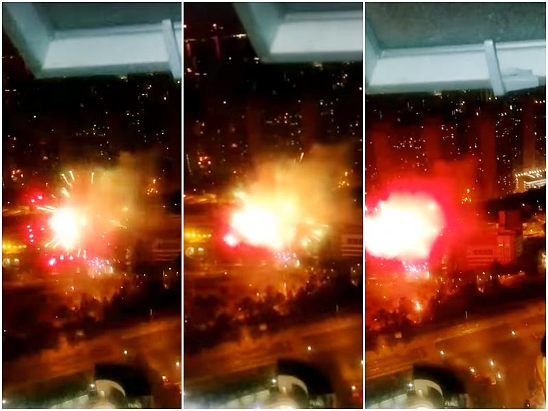 本港在農曆新年期間有人私放煙花。網上圖片