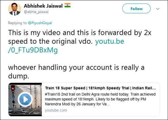 影片原發布者踢爆部長普拉布發布的影片的播放速度,是原先的兩倍。Twitter截圖